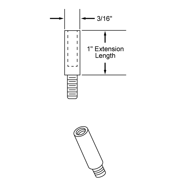 "1"" Aluminum Screw Post Extensions <br><font color=177ddd><b>(100 Extensions)</b></font>"